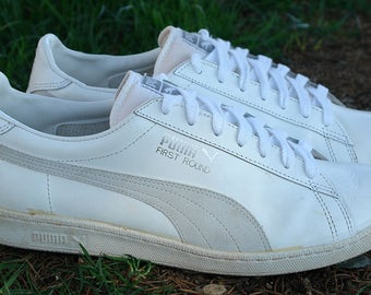 True Vintage 90 s Puma First Round Sneakers Leather Shoes US13 UK12 EU47  Taiwan Made 1990 Old School Trainers Great Condition Deadstock Rare 0725d657c3