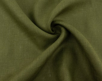 Olive Linen by the Yard #44 Mediumweight Linen Material Army Green Flax by the Meter Flax Culottes Overall Khaki Stretch Linen Fabric