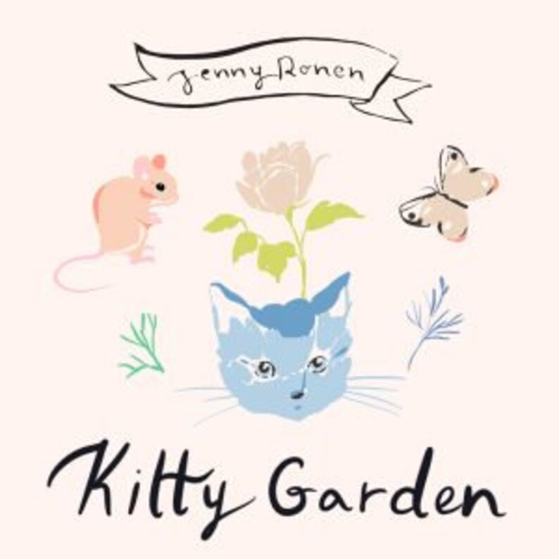 Miau a Cat print in Organic Cotton Quilting Weight Fabric from the Kitty Garden collection by Jenny Ronen for Birch Fabrics