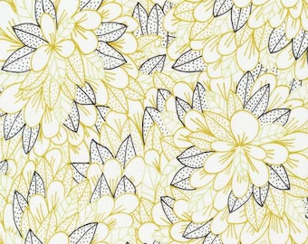 ORGANIC Voile Cotton Fabric Blomma in Citron from Cloud9 Fabrics Kindred collection by Lisa Congdon, Apparel Fabric, Floral Fabric,