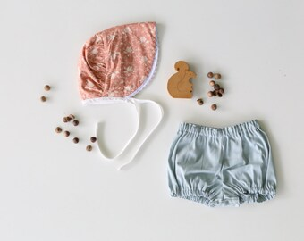 Toddler Bonnet in Peach Floral
