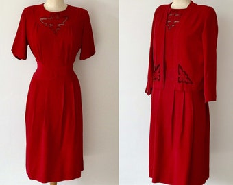 e48269859e6e Vintage 1940s Red Silk Crepe Dress & Jacket Square Shoulders Lace  Insertions 40s Goodwood Pinup Wow Factor