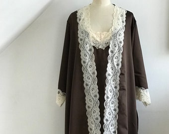 419d051d0 Vintage 1970s Negligee and Matching Robe Kayser Frothy Nylon French Lace  Boxed Unworn