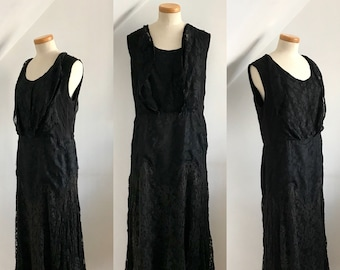 Vintage 1900s Flapper Dress Black Silk French Lace