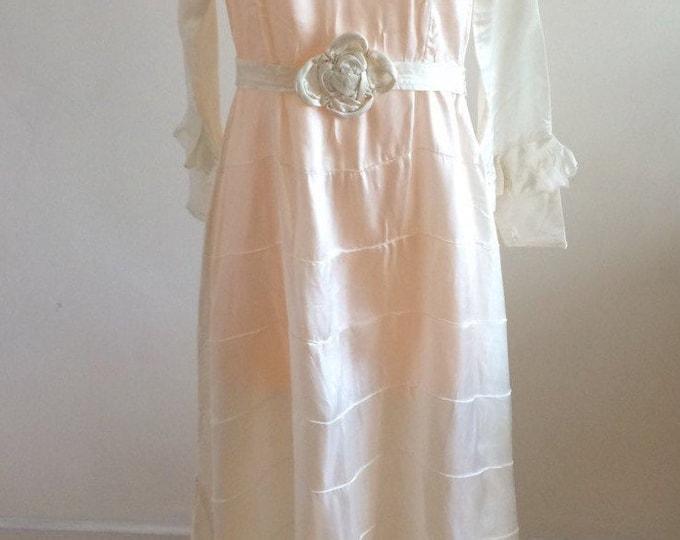 Vintage 1920s Gown Dress Art Deco Flapper Pure Champagne Silk Bias Cut Pristine 20s Wedding