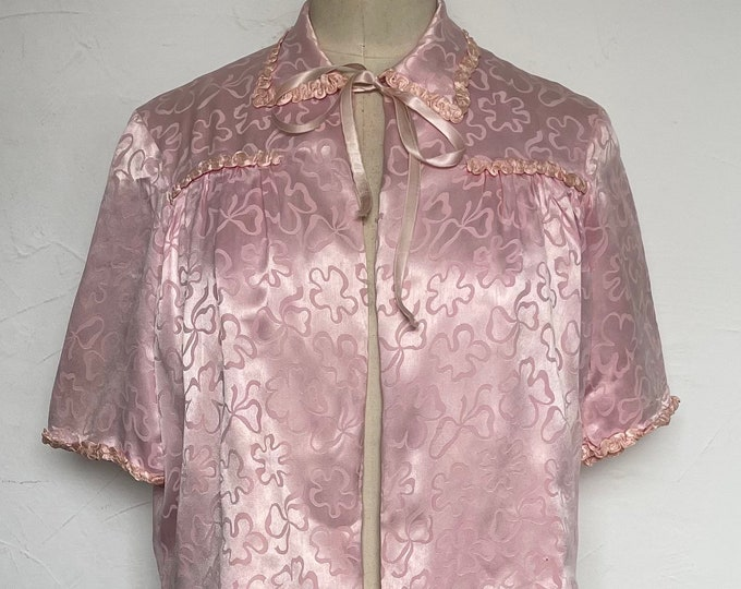 Vintage 1940s Bed Jacket Fitted Bolero Quilted Silk Boudoir Hostess Hand Made
