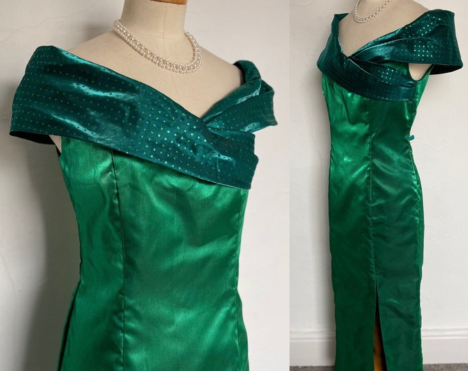 1950s Vintage Dress Fitted Cocktail Gown Silk Bardot Shoulders 50s Pinup