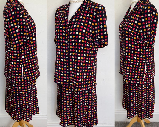 Vintage 1980s Silk Suit Skirt Camisole & Blouse Vibrant Classic Country Lady by Gina Bacconi