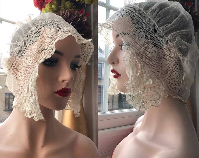 Victorian Brides Bonnet Champagne Silk Lace Sleeping Cap Hat French Boudoir Bohemian Lady