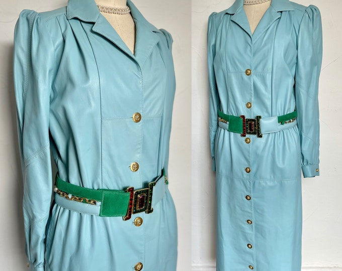 Stunning 1980s Napa Leather Dress Statement Shoulders Belted 80s Couture