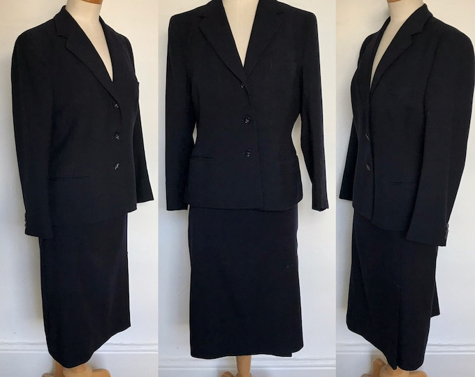 Stunning 1950s Fitted Suit Navy English Wool 50s Secretary Pencil Skirt Office Pinup Unworn