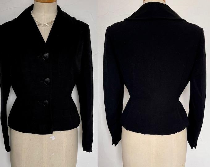 Vintage 1950s Jacket Wasp Waist Split Cuff Fitted Silk Harella Couture Shawl Collar