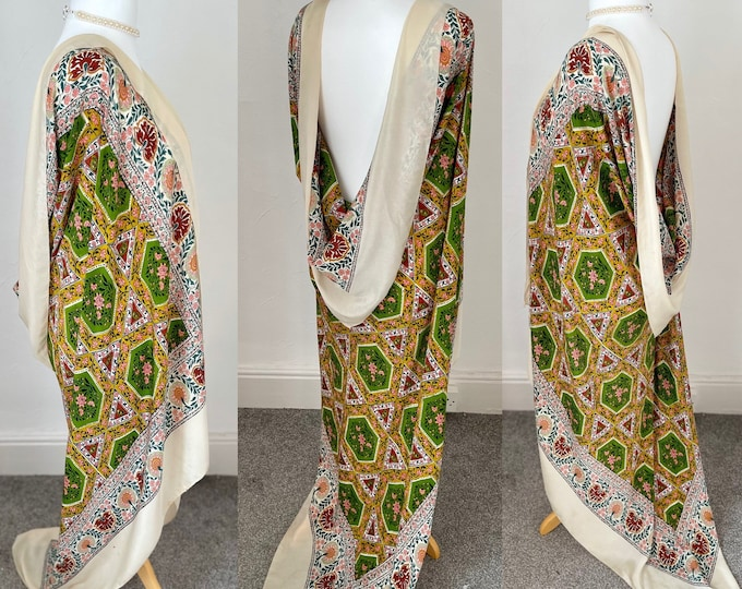 "Vintage 1800s Pure Silk Scarf Shawl Wrap Huge 66"" Vibrant Arts & Crafts"
