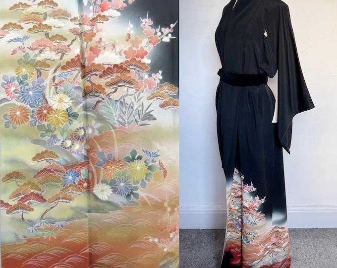 Vintage 50s Silk Kimono Robe yakata Hand Painted Dressing Gown Black & Ivory 1950s Burlesque Pinup