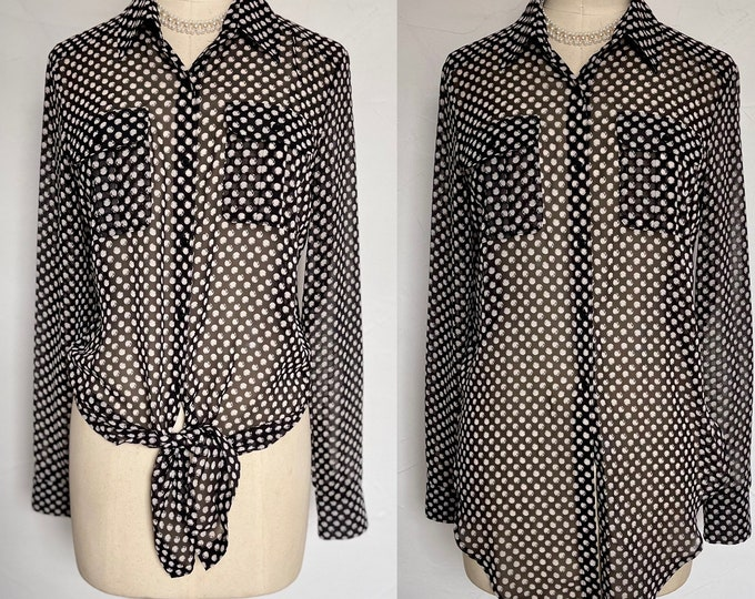 Fab Vintage Silk Shirt Blouse  Tunic Top Polka Dot Deadstock