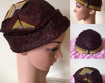 1920s Cloche Hat Silk Ribbon Trim Iridescent Straw Stunning Vintage French Art  Deco Flapper A1 68dc49918935