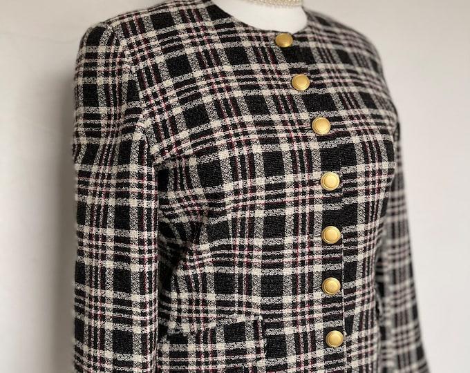 Fabulous 80s Vintage Blazer Jacket Chanel Style Wool & Silk Casual Country Lady Unworn
