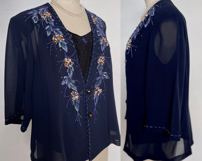 Vera Mont Twin Set Silk Appliqué Hand Painted Stunning Beautiful Country Classic