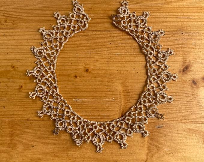 Vintage dress collar cream silk tatting lace