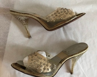 42d80616e8c Vintage 1950s Spring-O-Lator Shoes High Stiletto Nude Mules Diamanté  Encrusted Lucite Heels Stunning Bombshell Burlesque