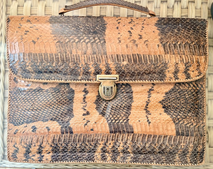 Fabulous 1950s Ladies Briefcase Snake Leather Handbag Suede Lined Vintage 50s Bombshell