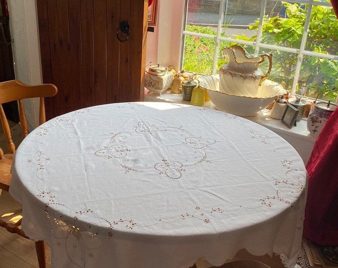 Exquisite Vintage Flax Linen Tablecloth Topper Hand Embroidery Openwork Unique Beautiful