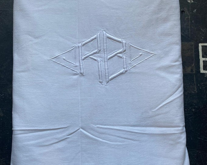 Vintage 1920s Metis Linen Sheet Embroidered Bed Header French Art Deco Boutique Home