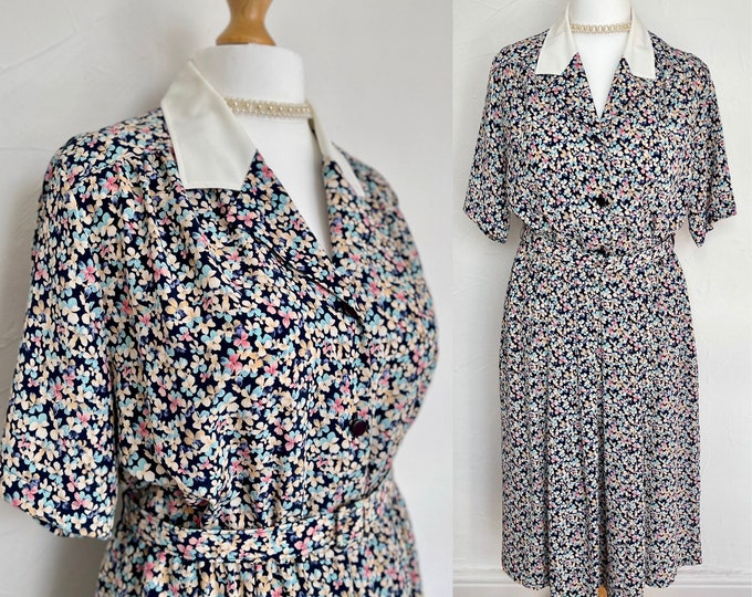 Vintage 1940s Style Dress 1980s New Romantic Belted Pockets Vintage 80s Eastex Unworn