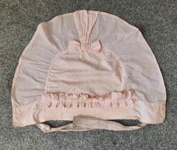 Vintage 1930s Linen Bonnet Prairie Hat Flounced L… - image 7