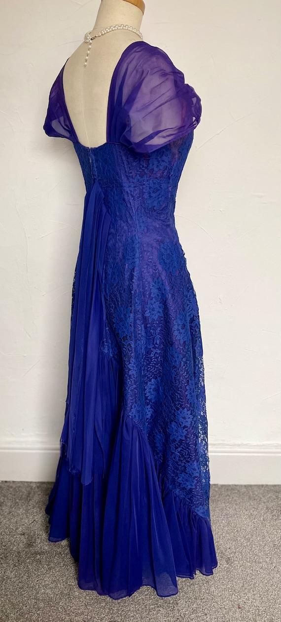 Vintage 40s Evening Gown Cocktail Dress Blue Silk… - image 4