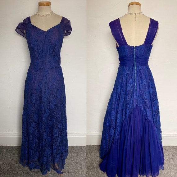 Vintage 40s Evening Gown Cocktail Dress Blue Silk… - image 2