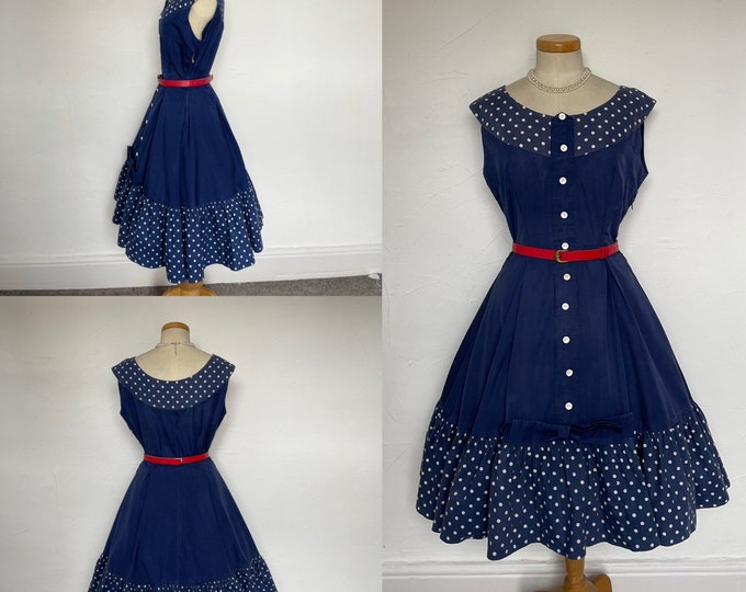 Vintage 1950s Dress Cocktail Polka Dot Cotton Huge Circle Skirt 50s Bombshell