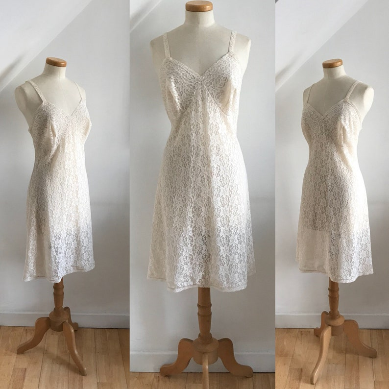99abccd87dc Vintage 1950s Petticoat Slip Nylon Lace St Michaels Rare