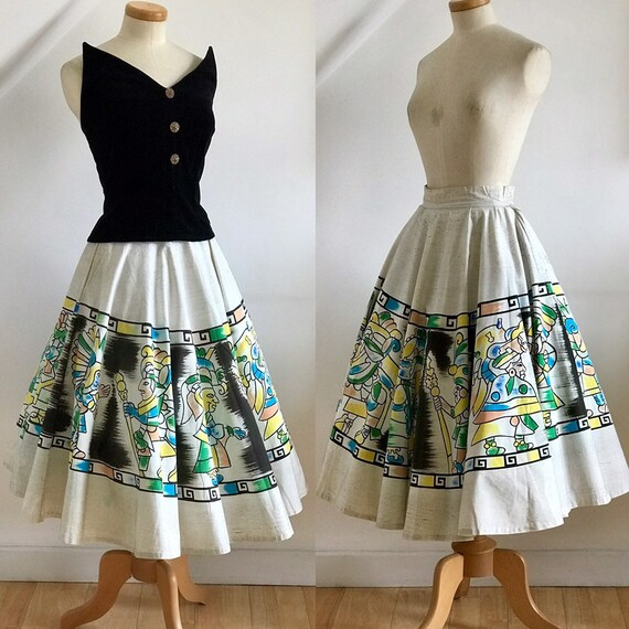 Vintage 50s Skirt Circle Skirt Hand Painted Vivid
