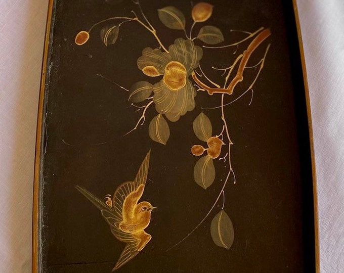 Vintage 1920s Chinoiserie Tray Birds Blossom Lacquered Hand Painted Art Deco