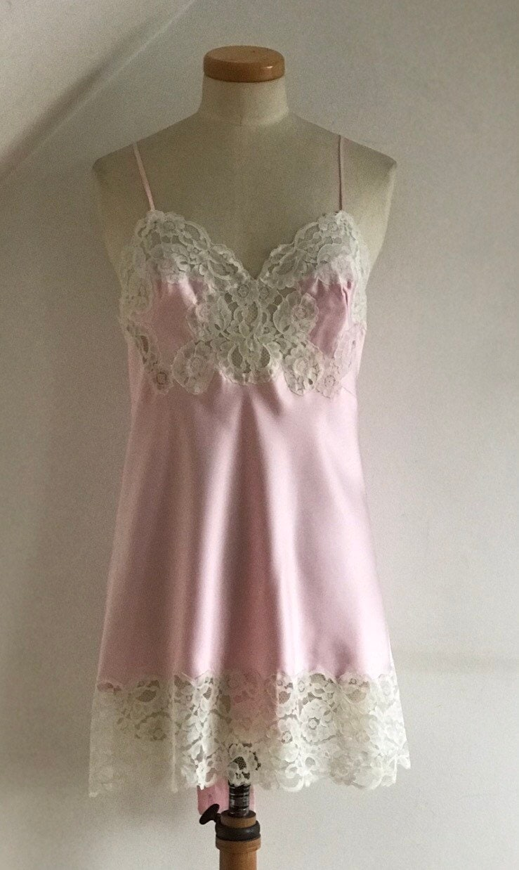 384405fb0 Vintage 1950s Cami Knickers Pink Satin French Lace Slip Pinup Bombshell  Stunning Unworn. gallery photo gallery photo ...