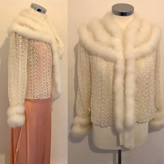 Vintage 1930s Jacket Silk Cobweb Lace Swansdown Tr