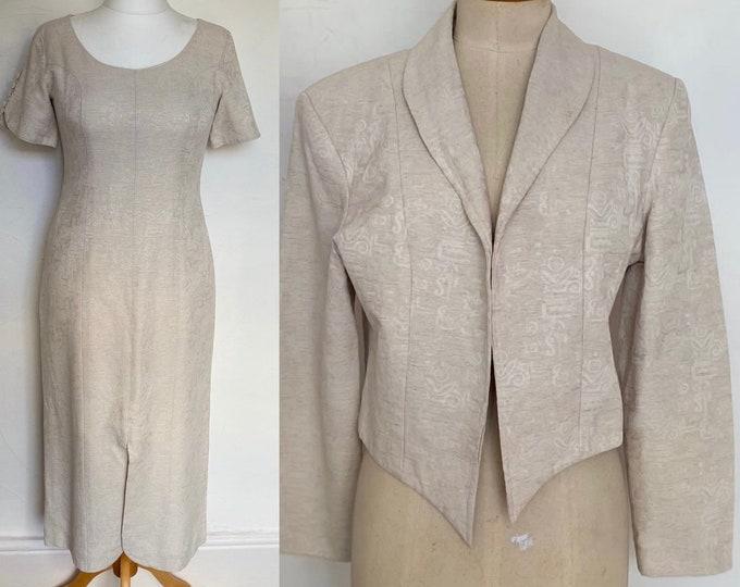 Vintage 1950s Silk Wiggle Dress & Cocktail Jacket Wedding Stunning