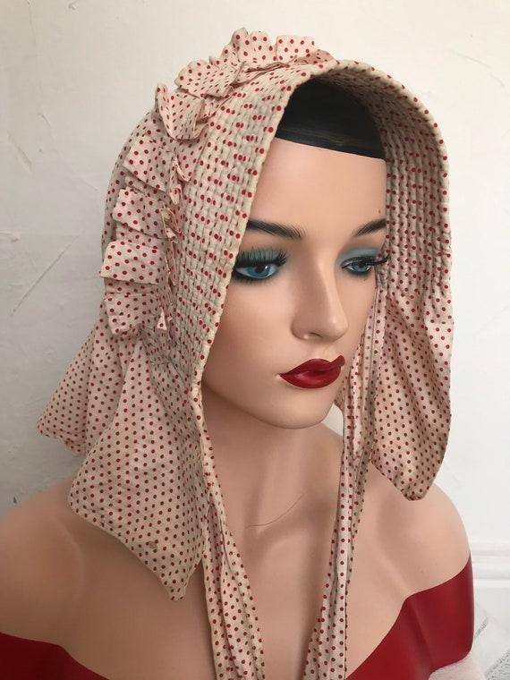 Vintage 1930s Linen Bonnet Prairie Hat Flounced L… - image 4