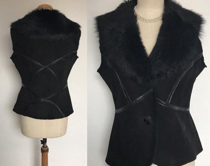 Vintage Gilet Vest Waistcoat Dom & Ruby Sheepskin Retired Boutique Stock Classic Fashion Unworn 12/14