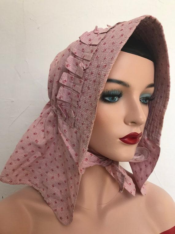 Vintage 1930s Linen Bonnet Prairie Hat Flounced Li