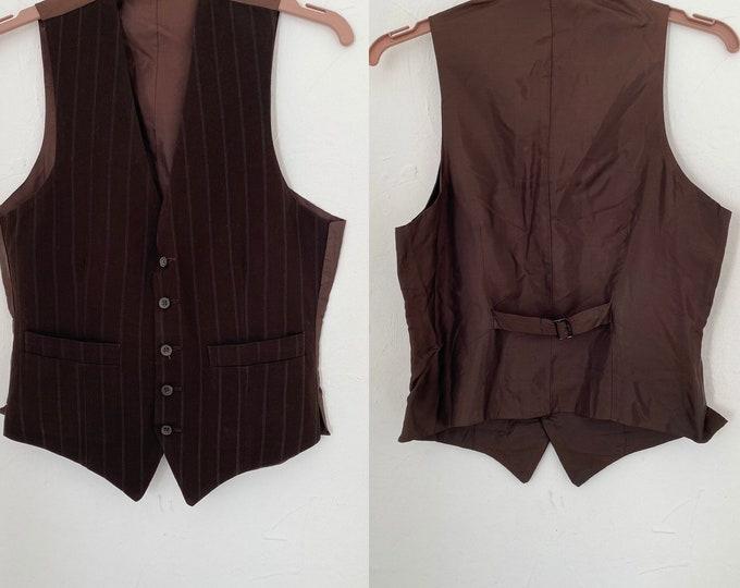 "1950s Gentleman's Vest Waistcoat 50s Vintage Brown Stripe Pure Wool & Rayon Silk 36"" Chest"