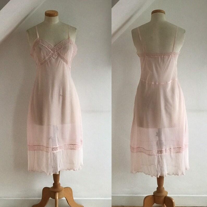4a88b67875b Vintage 1950s Pink Nylon   Lace Slip Petticoat St Michael Red