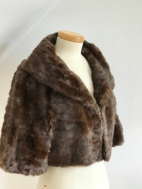 Awesome 1950s Vintage Cocktail Jacket Bolero Mahogany Mink Celebrity/'s Item 50s Bombshell Exquisite Style 16