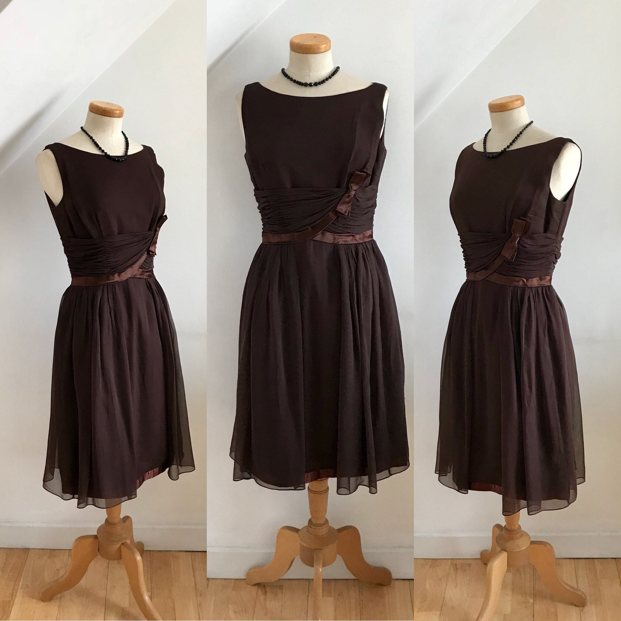 Vintage Jean Allen 50s Cocktail Dress Silk Georgette 1950s