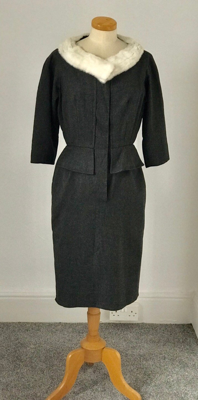 Vintage 50s Hardy Amies Day Dress Wiggle Grey Fine Worsted English Wool Sensual Couture 1950s Goodwood Unworn