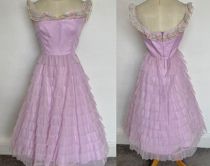 Vintage 1950s Evening Dress Powder Pink Ball Gown Georgette Elegant 50s Classic