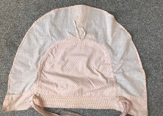 Vintage 1930s Linen Bonnet Prairie Hat Flounced L… - image 8