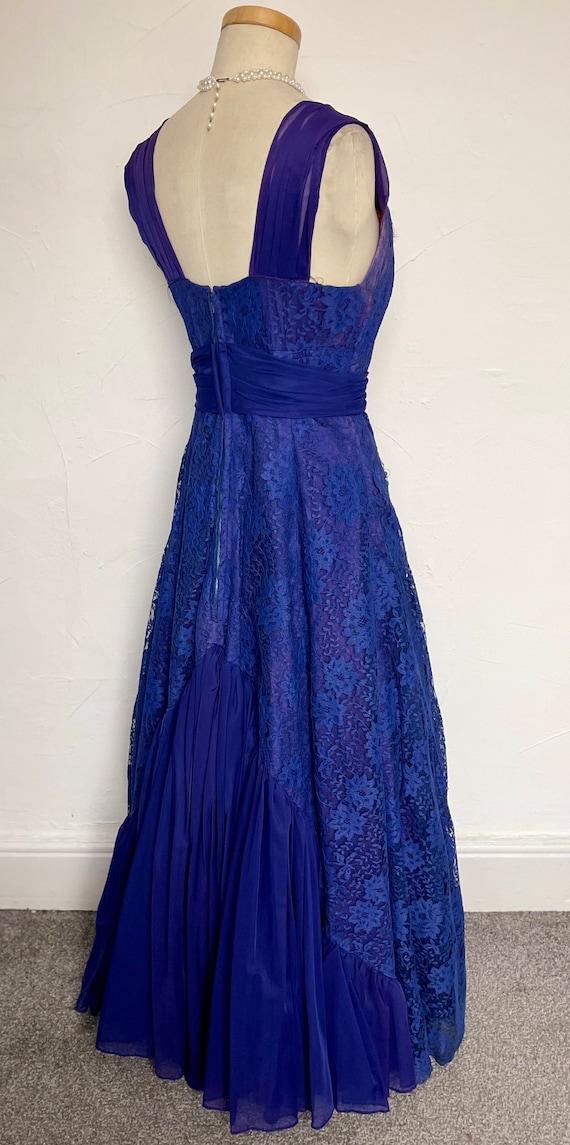 Vintage 40s Evening Gown Cocktail Dress Blue Silk… - image 3