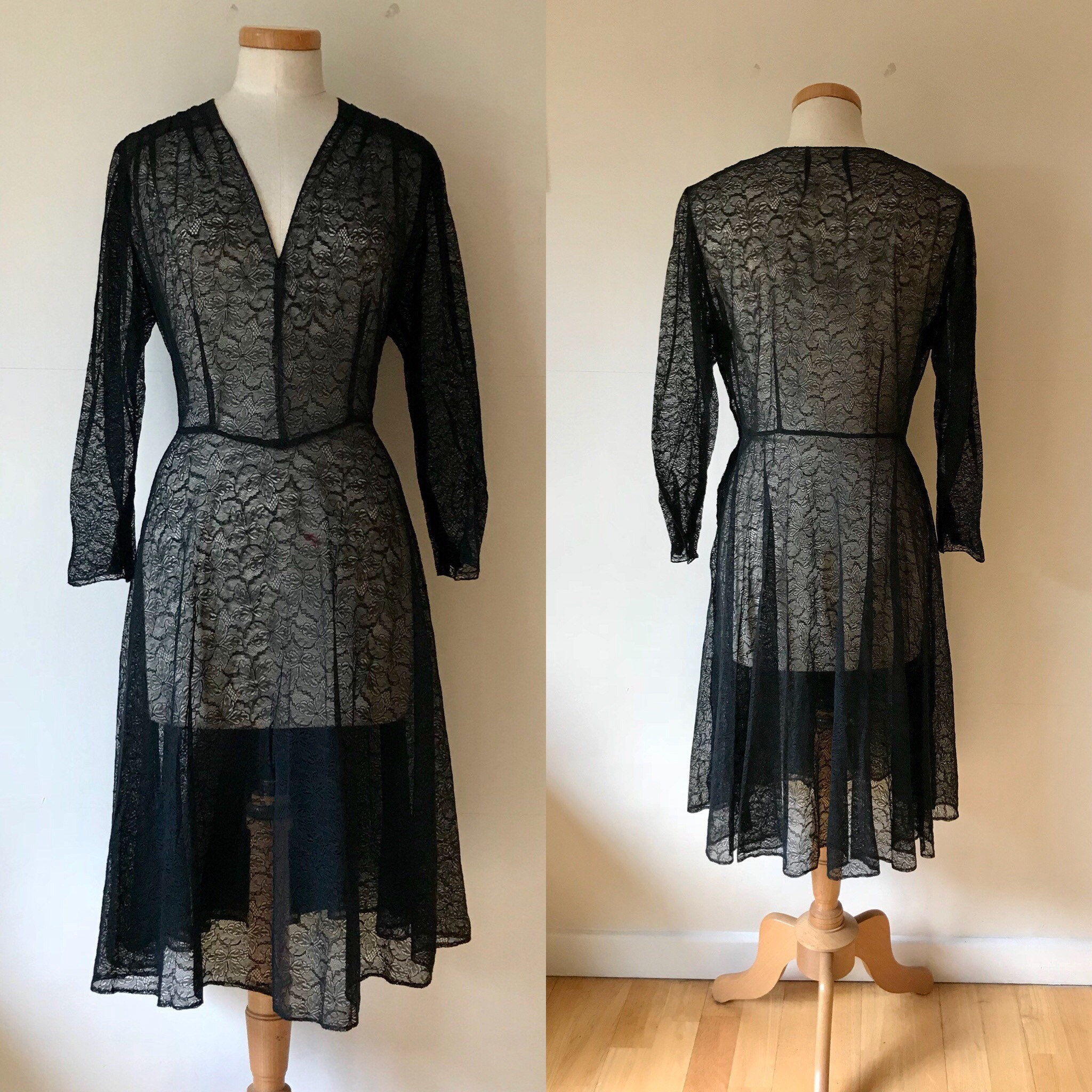 Vintage 1940s Swing Dress Black Chantilly Lace 40s
